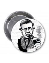 Jean-Paul Sartre Karikatür Rozet